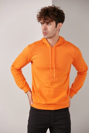CATSPY Erkek Turuncu Kapüşonlu Sweatshirt 1