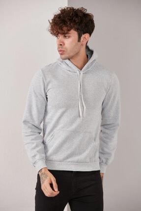 CATSPY Erkek Gri Kapüşonlu Sweatshirt 1