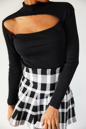 Xena Kadın Siyah Degaje Detaylı Bluz 1KZK3-10787-02 1