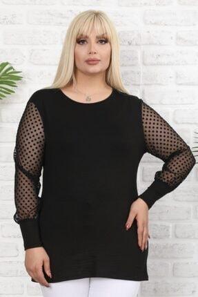 Şirin Butik Kadın Siyah Büyük Beden Tül Üzeri Kadife Puantiye Flok Baskılı Viskon Bluz 0