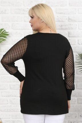 Şirin Butik Kadın Siyah Büyük Beden Tül Üzeri Kadife Puantiye Flok Baskılı Viskon Bluz 3