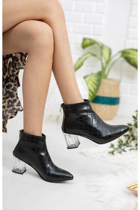 Moda Değirmeni Siyah Kroko Cilt Kadın Şeffaf Topuk Bot Md1050-116-0001 2