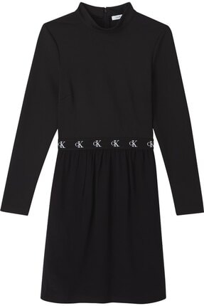 Calvin Klein Kadın Siyah Logo Elastıc Dress Elbise 1