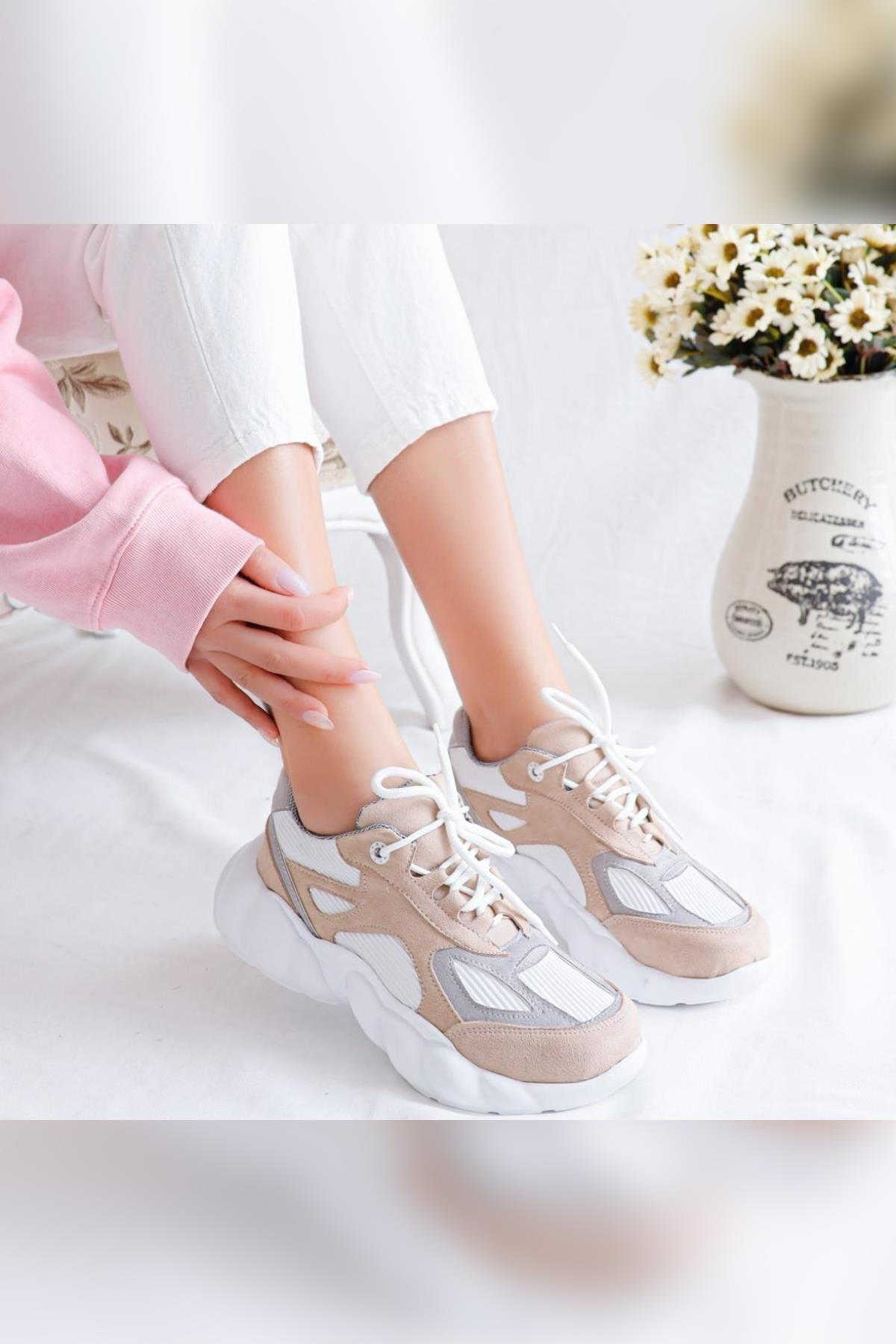 Limoya Kadın Brooklyn Bej Beyaz Gri Süet Bağcıklı Yüksek Tabanlı Sneaker Ayakkabı