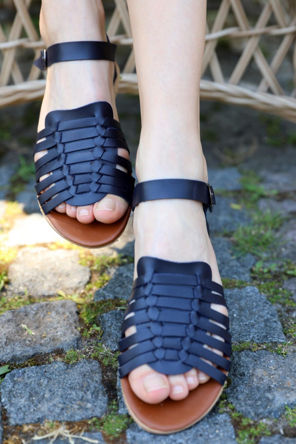 Y&G Kadın Lacivert Biyeli Sandalet Terlik Od-42