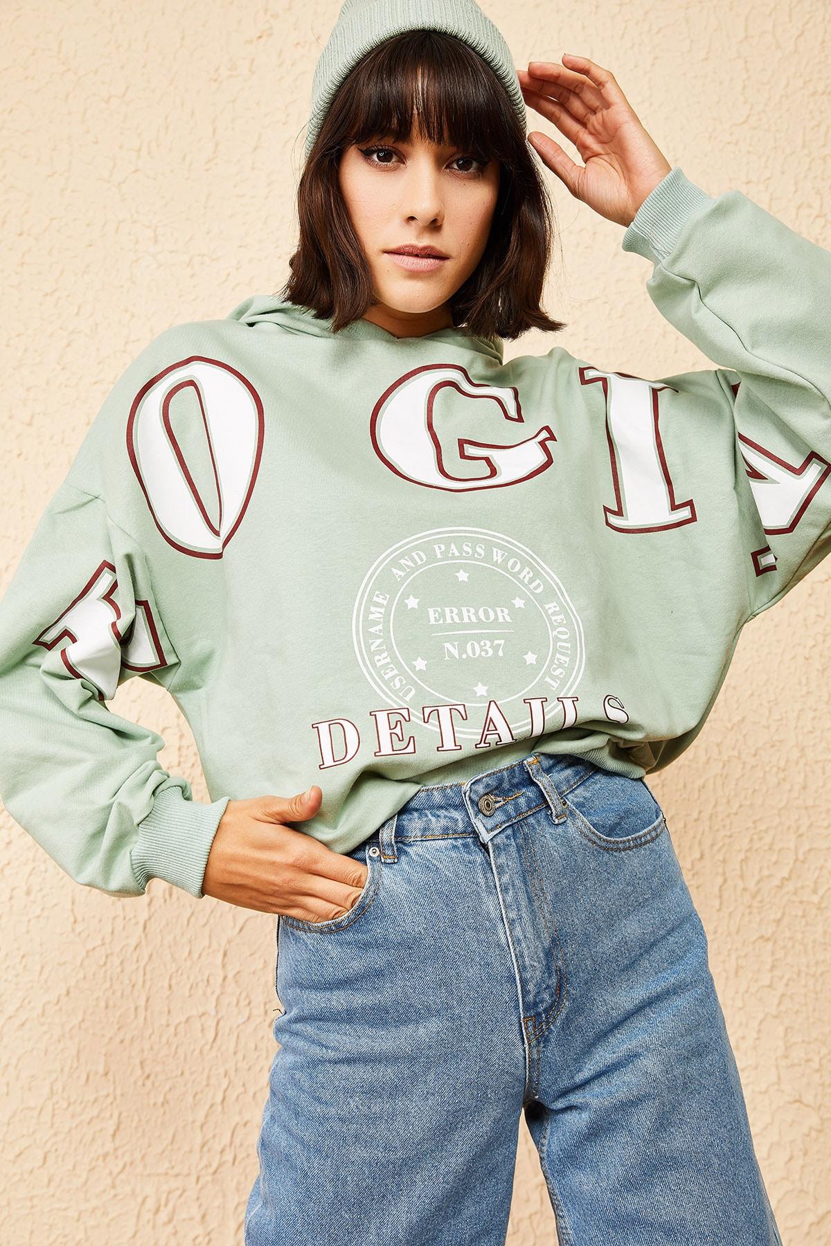 Bianco Lucci Kadın Mint Yeşili Kapüşonlu Yeşil Login Baskılı Oversize Sweatshirt 10121035 3