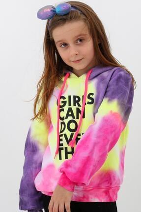 Enisena Mor Kız Cocuk Yıkamalı Kapşonlu Sweatshirt 0
