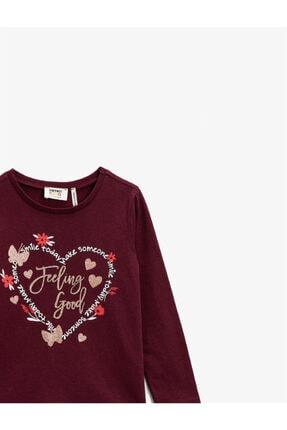 Koton Kız Çocuk Bordo T-Shirt 2