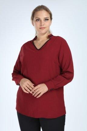 تصویر از Kadın Bordo Büyük Beden Uzun Kol Biyeli V Yaka Bluz