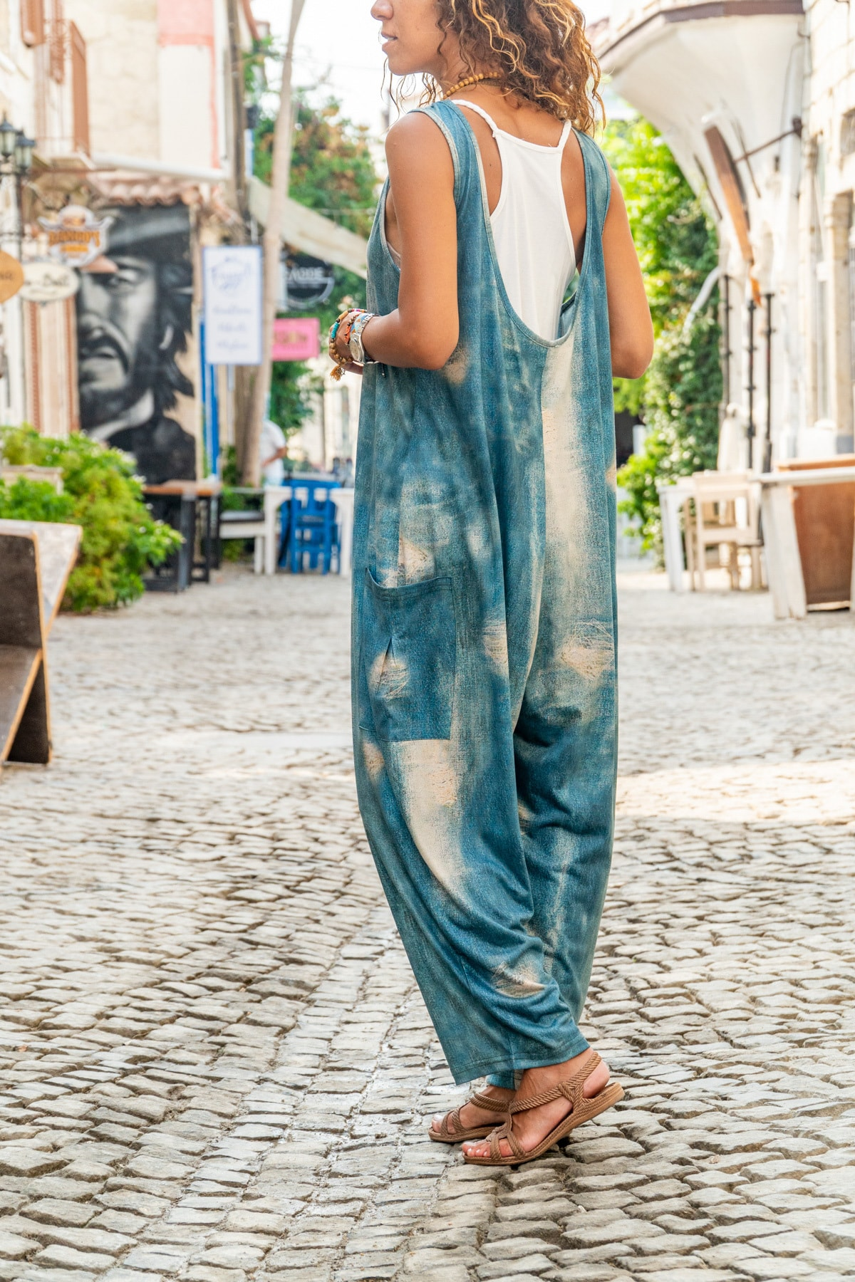 Güneşkızı Kadın Mavi Yanı Cepli Yıkama Baskılı Salaş Tulum GK-CCK988 1