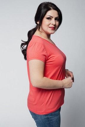 Ebsumu Kadın Mercan Beden V Yaka Basic Kısa Kollu Tişört 4