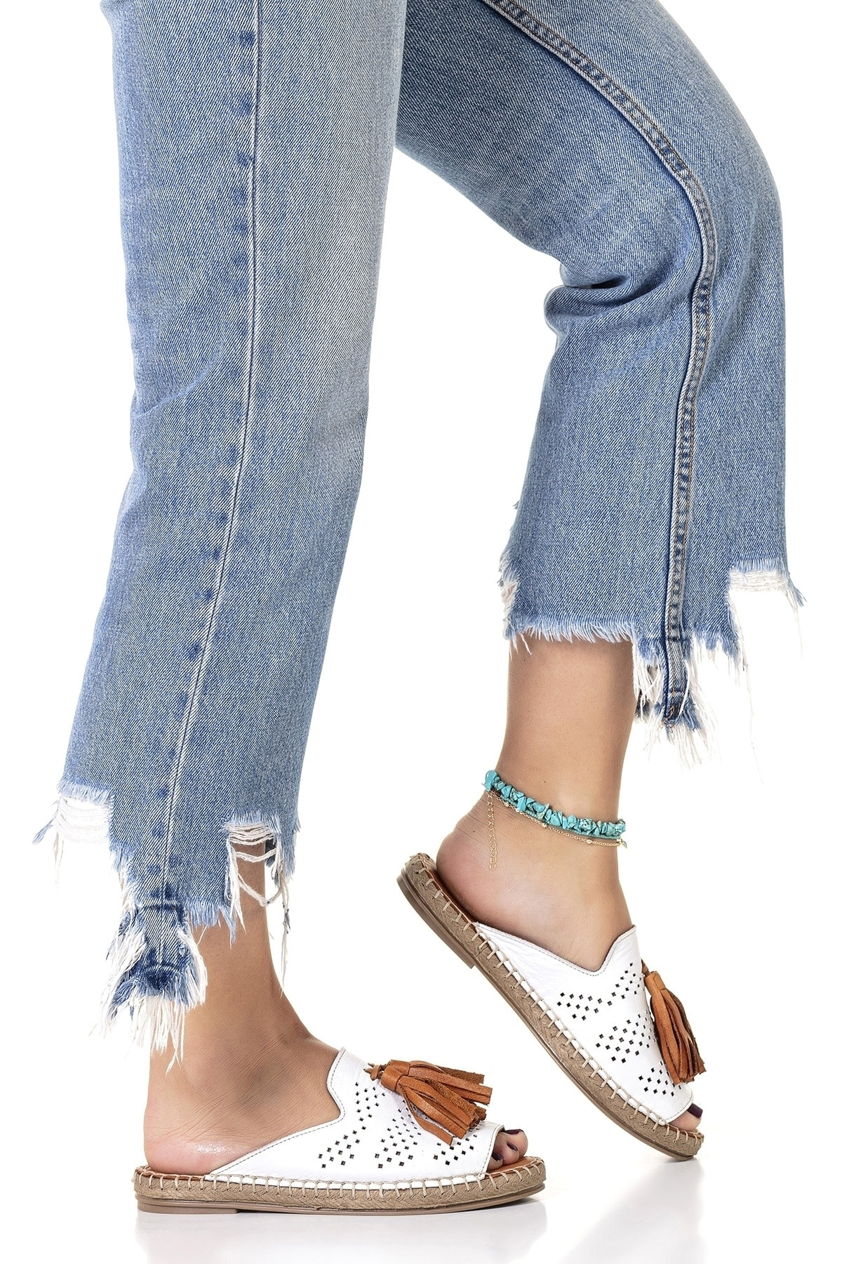 Vita Shoes Kadın Beyaz Deri El Yapımı Terlik