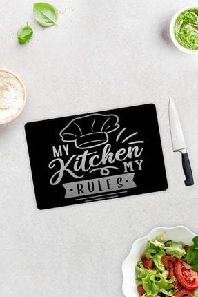 Decorita My Kitchen My Rules | Cam Kesme Tahtası - Cam Kesme Tablası | 20cm x 30cm 0