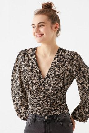 Mavi Kadın Çiçek Baskılı Kahverengi  Bluz 122736-33479 0