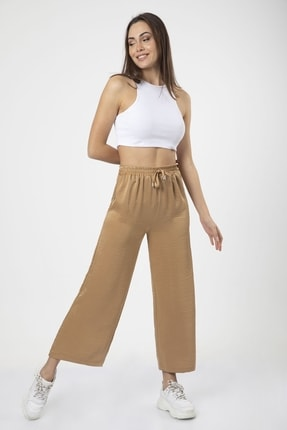 MD trend Kadın Sütlü Kahve Bel Lastikli Bağcıklı Bol Paça Salaş Pantolon 2