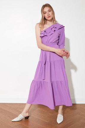 TRENDYOLMİLLA Lila Kuşaklı Tek kollu Elbise TWOSS21EL1942 2