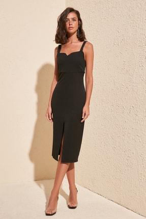 TRENDYOLMİLLA Siyah Yırtmaçlı Elbise TWOSS19BB0216 2