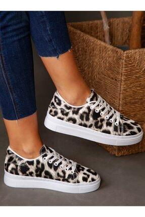 ayakkabıhavuzu Kadın Siyah Leopar Desenli Spor Ayakkabı 1