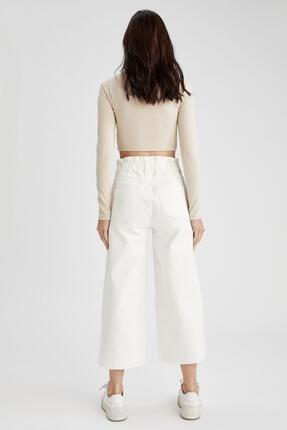 Defacto Kadın Beyaz Culotte Jean Pantolon 2