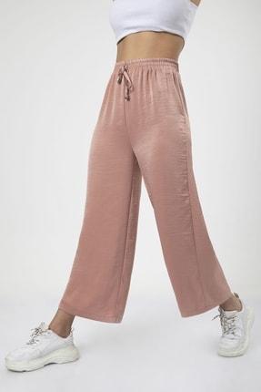 MD trend Kadın Pudra Bel Lastikli Bağcıklı Bol Paça Salaş Pantolon 3