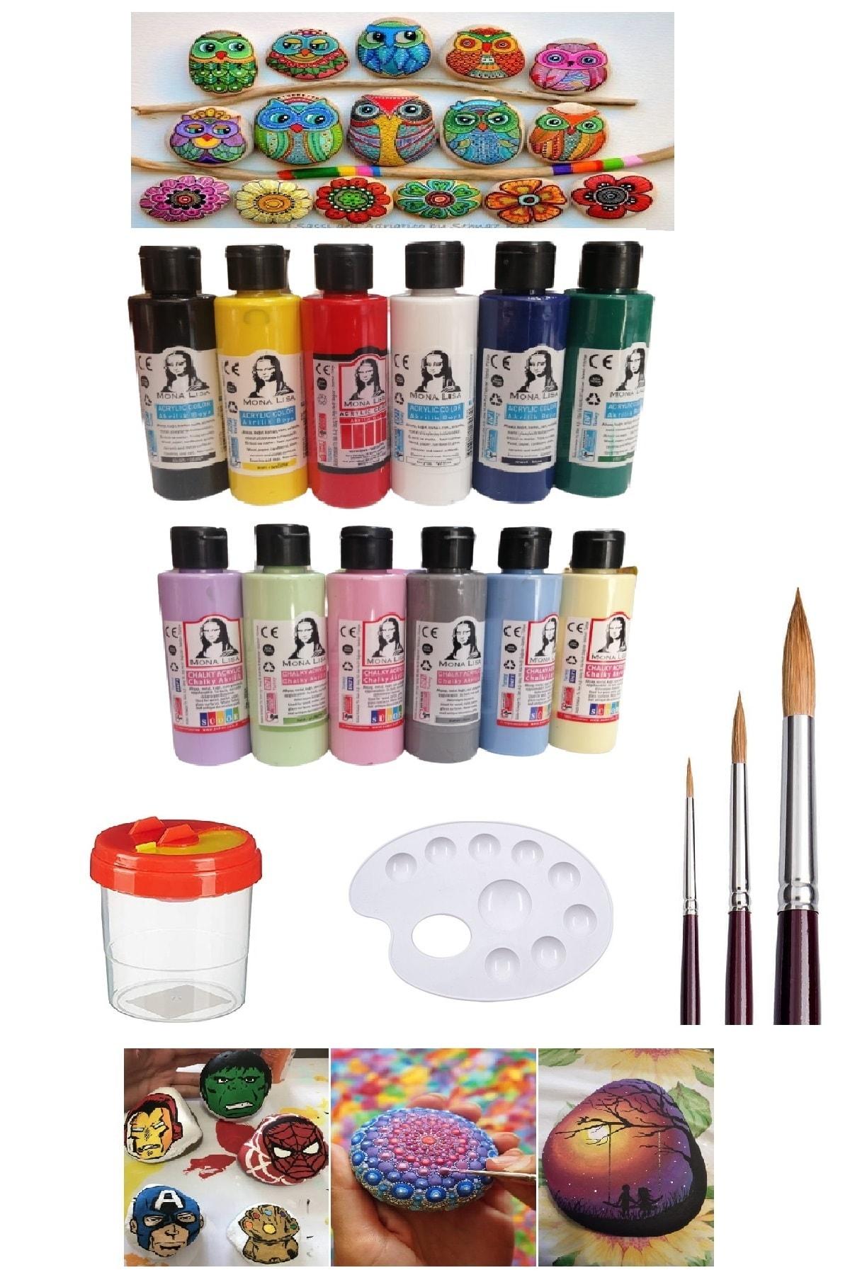 Taş Boyama Seti 6 Ana Renk 6 Pastel Renk Set 1 Paket