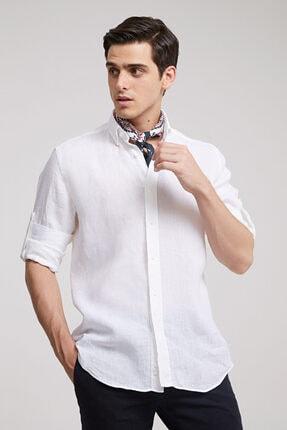 تصویر از Beyaz Regular Fit  Düz Gömlek