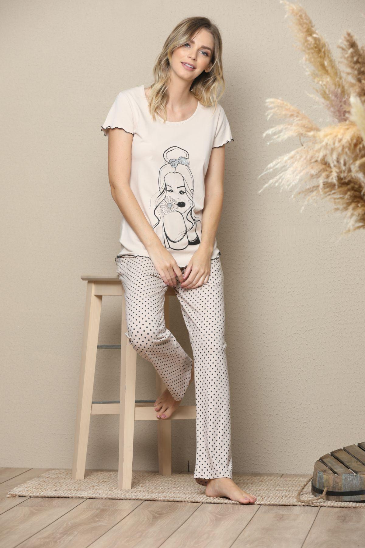 Kadın Kısa Kollu Pamuklu Likralı Pijama Takım