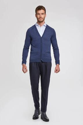 Hemington Erkek Düğmeli Slim Fit Koyu Mavi Merino Yün Hırka 1