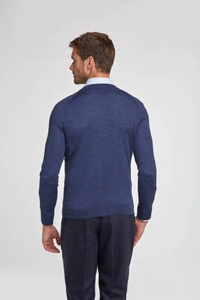 Hemington Erkek Düğmeli Slim Fit Koyu Mavi Merino Yün Hırka 2