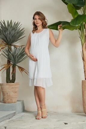 Kadın Beyaz Eteği Fırfırlı Şifon Hamile Elbise O7086