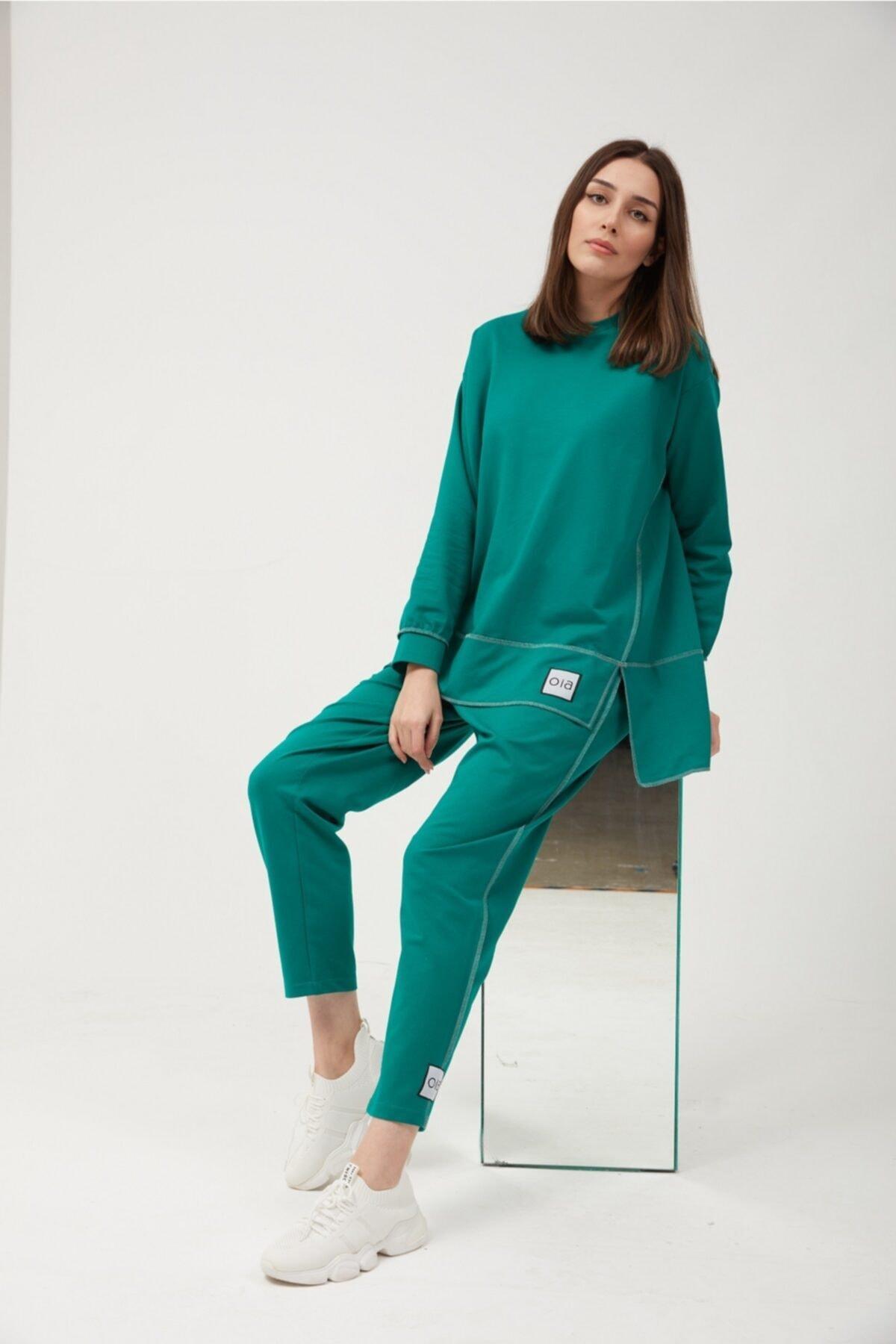 Kadın Yeşil Pamuklu Tunik Eşofman Takım W0943
