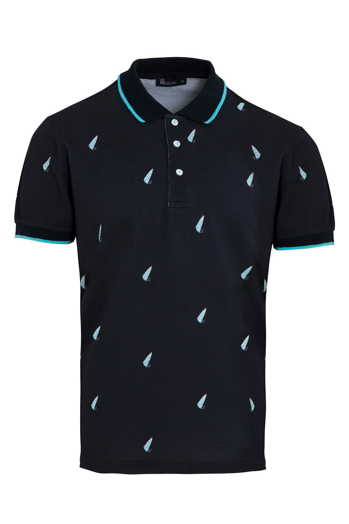 Erkek  Lacivert Baskılı Polo Yaka  T-shirt