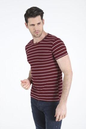 Bifery Erkek Bordo Çizgili Basic T-shirt 3