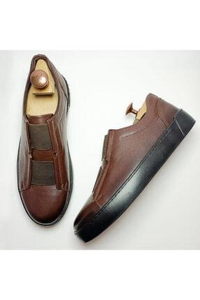 Ayakkabium Eng0102 Içi Dışı Hakiki Deri Yüksek Taban Kahverengi Erkek Sneaker Günlük Ayakkabı 2