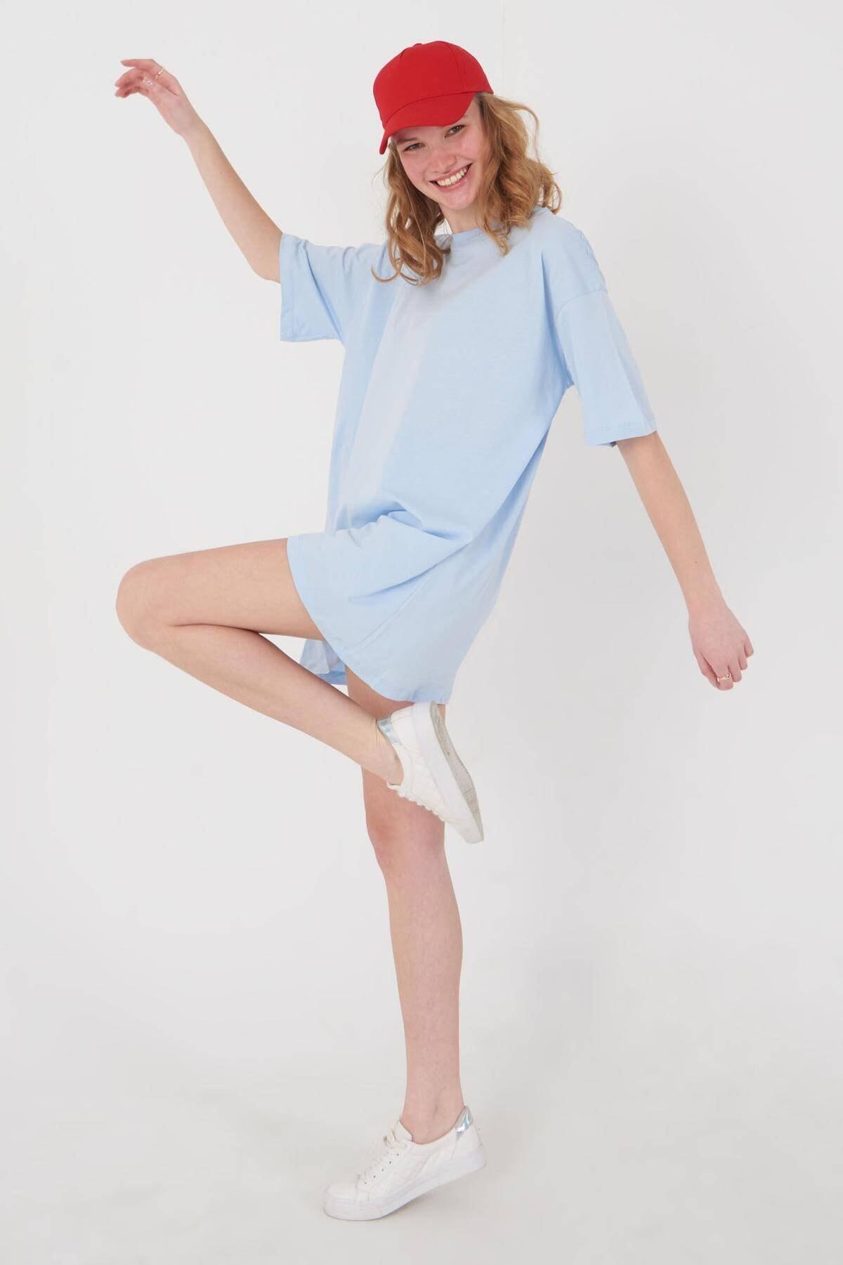 Addax Kadın Buz Mavi Oversize T-Shirt P0731 - G6K7 Adx-0000020596 2