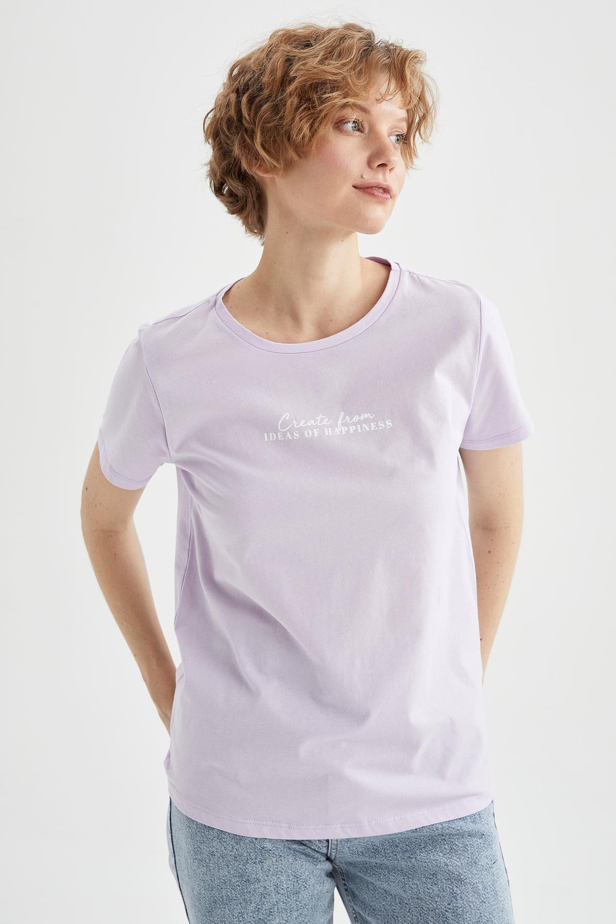 Slogan Baskılı Kısa Kollu Pamuklu Oversize Fit Tişört