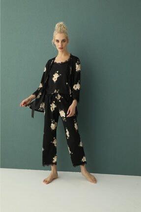 Kadın Sabahlıklı Dantelli Ip Askılı Pijama Takımı 80118-3