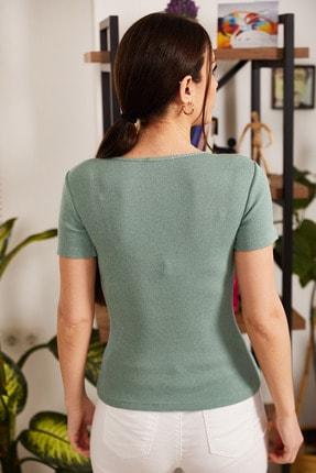 armonika Kadın Mint V Yaka Kısa Kol Bluz ARM-21K108037 3