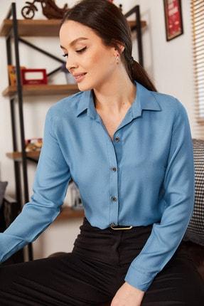 armonika Kadın Buzmavi Uzun Kollu Düz Gömlek ARM-18Y001176 1