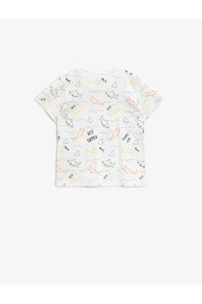 Koton Erkek Bebek Ekru Desenli Kısa Kollu T-Shirt 1