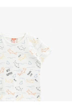 Koton Erkek Bebek Ekru Desenli Kısa Kollu T-Shirt 2