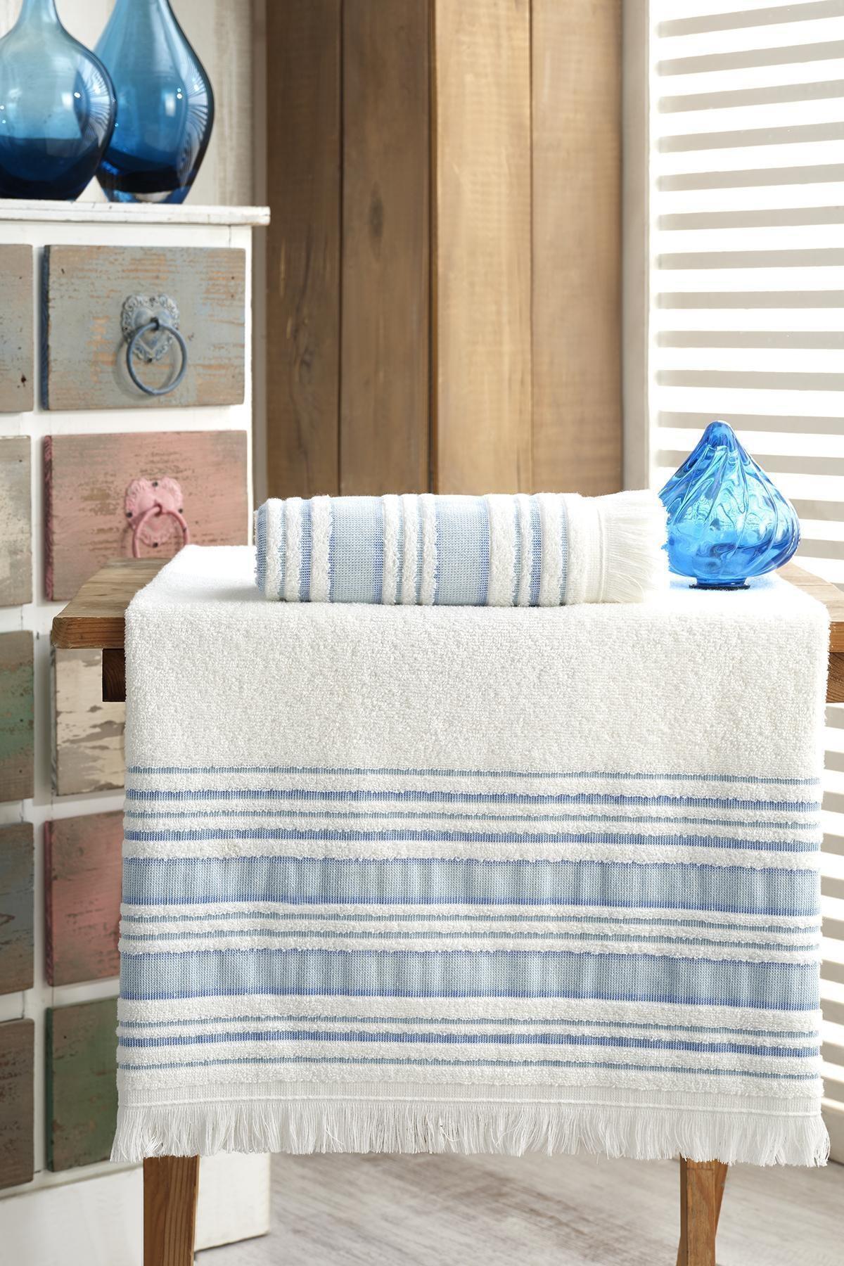 Banyo Havlu Takımı 70x140 - 50x90 Vip Mavi