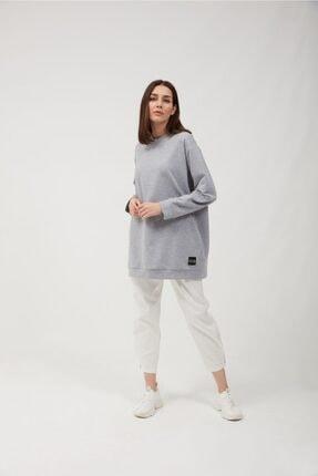 oia Kadın Gri Renk Uzun Basic Sweat Tunik 3