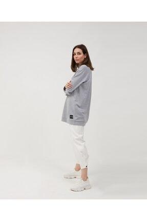 oia Kadın Gri Renk Uzun Basic Sweat Tunik 4