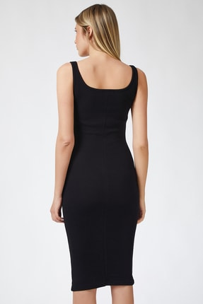 Happiness İst. Kadın Siyah Askılı Fitilli Elbise PG00004 2