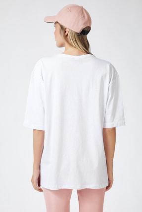 Happiness İst. Kadın Beyaz Baskılı Oversize Uzun Penye T-shirt ZV00104 3