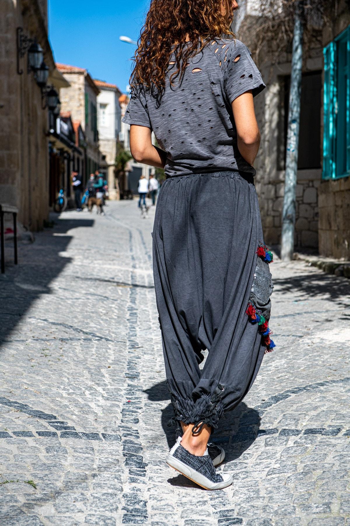 Güneşkızı Kadın Antrasit Yıkamalı Paçası Bağlamalı Püsküllü Salaş Şalvar Pantolon GK-RSD2032 3