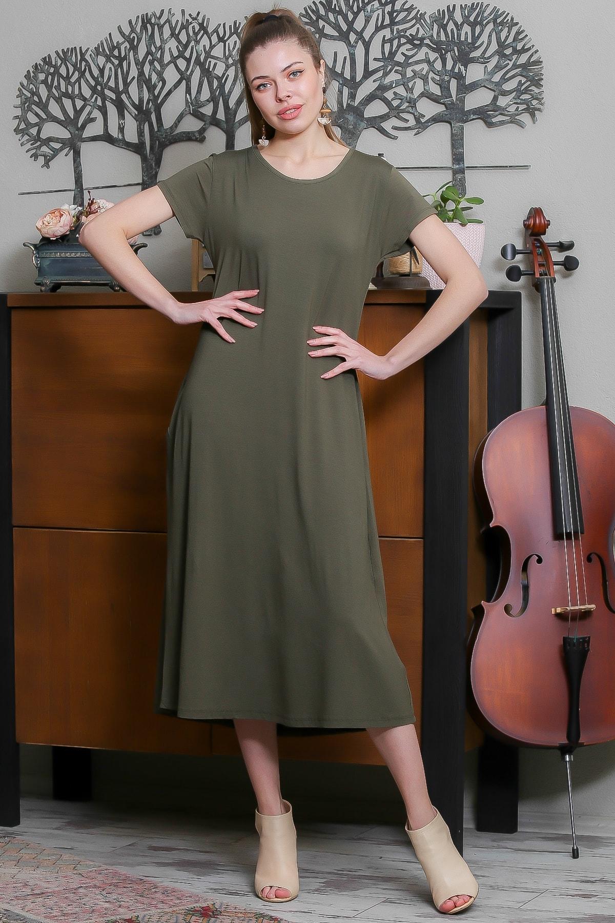 Chiccy Kadın Haki Sıfır Yaka Kısa Kollu Gizli Cepli Salaş Elbise M10160000EL95531 0
