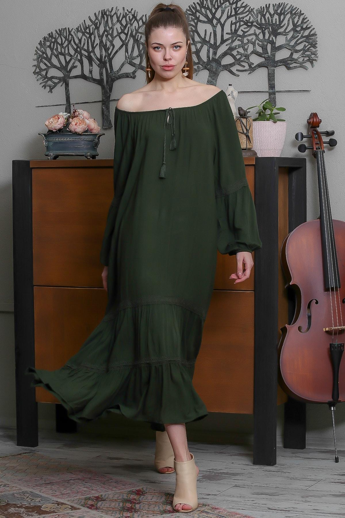 Chiccy Kadın Yeşil Carmen Yaka Püskül Bağcıklı Salaş Elbise M10160000EL95523 3
