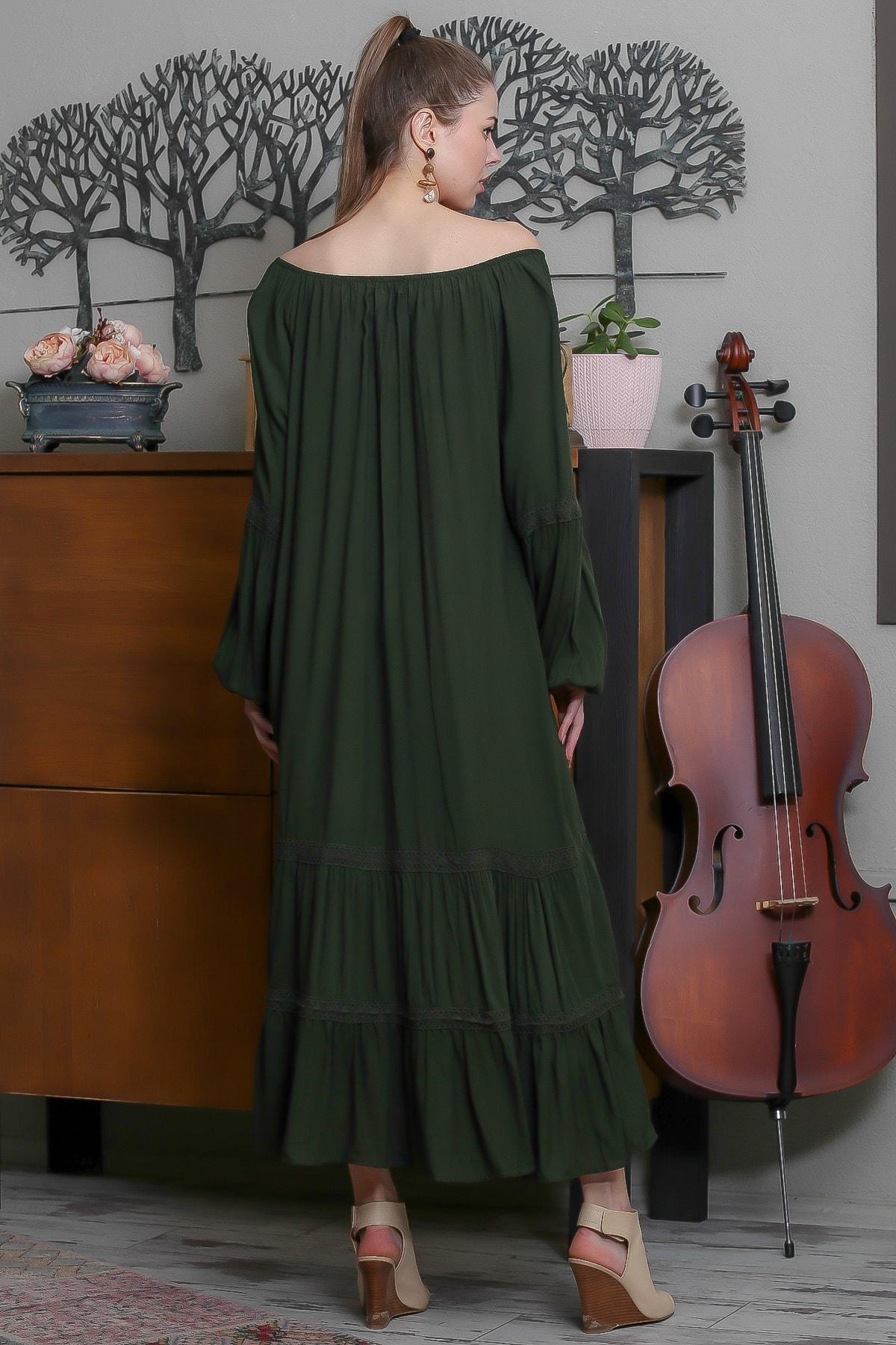 Chiccy Kadın Yeşil Carmen Yaka Püskül Bağcıklı Salaş Elbise M10160000EL95523 4